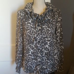 Kate Spade 100% Silk Animal Print Blouse